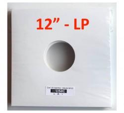 """Copertine per LP-12""""  colore bianca con due fori (Conf. 10 pezzi)"""