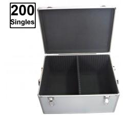Valigetta BOX Alluminio per DISCHI 45 GIRI -  Contiene 180/200 vinili - Colore Silver