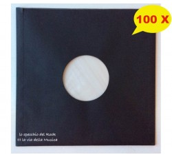 Manicotti FODERATI per Dischi 45 Giri Colore NERO - Antistatici - Qta' 100 -
