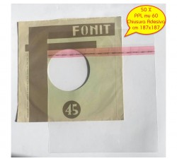 BUSTE in PPL Neutro per dischi VINILI 45 Giri - Chiusura Adesiva - my 60 - cm 187x187 - Qtà 50