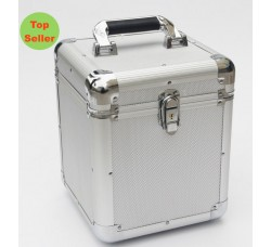 Valigetta BOX Alluminio per 70/100 dischi vinili 45 Giri. Colore Silver