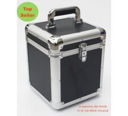 Valigetta BOX Alluminio per 70/100 dischi vinili 45 Giri. Colore Nero