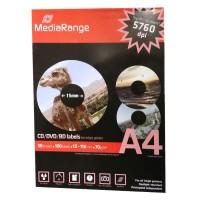 MEDIARANGE - Etichette per CD, opache, 100 pezzi, diametro interno 41mm.