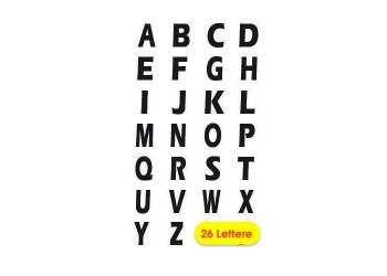 Lettere ADESIVE colore NERO per Divisori o Separatori -  26 Lettere Cm 1.00 -