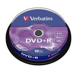 VERBATIM 10 DVD+R MATT SILVER AZO 4.7GB 16X IN SPINDLE -