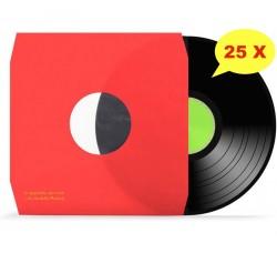 Manicotti per LP Foderati con Pellicola Antistatica Colore ROSSO - Angoli CUT - Qtà 25