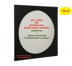 SET - Copertine + Buste per PICTURE DISC e COLORATI - Colore NERO - Qtà 10
