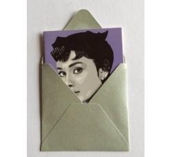 Audrey Hepburn   Caricatura – Bustina con bigliettino d'auguri