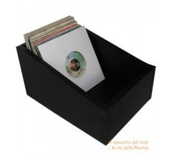 """BOX Contenitore di legno per dischi 45 giri 7"""" pollici - Colore nero"""