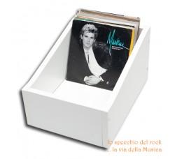 """BOX Contenitore di legno per dischi 45 giri 7"""" pollici - Colore bianco"""