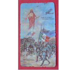 Con Gesù Vittorie e Trionfi, Dio ti protegga - Santino di guerra 1940
