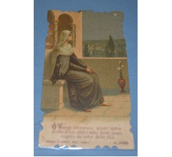 "MADONNA "" O Vierge tres ..."" 1921 - Holy Card - Santino sagomato"