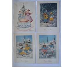 4 cartoline vintage - BUON NATALE - a rilievo con tessuto BELLE!