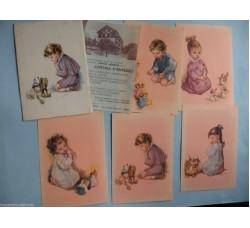 Bambini Augurali. Hotel Serena Cortina - 5 cartoline firmate Zandrino, in cofanetto e volantino