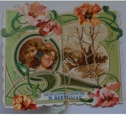 Almanacco profumato VENUS BERTELLI 1906 calendarietto sagomato