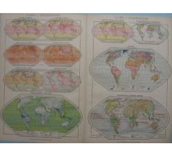 CLIMA e VEGETAZIONE - Mappa mondiale  - tav.6/7 ORIGINALE Atlante 1942