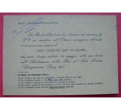 RAI cartolina CANZONI da SALVARE con 10 autografi retro N. Otto, Onorato, ...