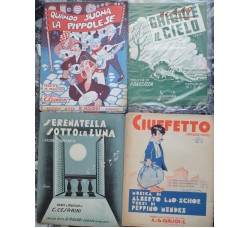 Spartiti Musicali Canzoni d'epoca - pianoforte e canto - Lotto di 4