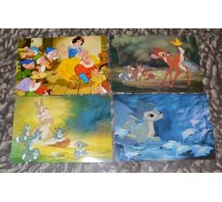 BAMBI + BIANCANEVE 4 cartoline ed. Disney / Biondetti - anni 60/70