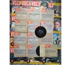 VOCI Storiche di MUSSOLINI - Lotto 26 pezzi: 13 dischi + 13 riviste - tutti Ottimi