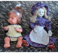 2 BAMBOLE snodabili giocattolo anni '70 - h cm. 20 circa cadauna