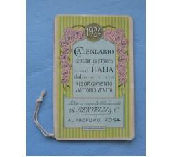 Calendarietto BERTELLI Geografico Storico Italia, dal Risorgimento a V. Veneto - 1924