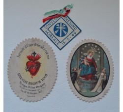 Madonna + Cuore Gesù + Coccarda - Set 3 pezzi C. Diocesano Acireale 1949 -