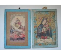 Madonna del Carmelo - 2 quadretti votivi con santini cm.10 x 15 cadauno -