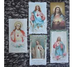Cuore di Gesù - lotto 5 santini d'epoca, da collezione - vedi foto e dettagli