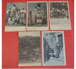 Costumi Ciociari - Frosinone, Roma, Collepardo, Monte S. Giovanni Campano, S. Polo dei Cavalieri - lotto 5 cartoline d'epoca