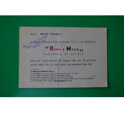 RAI cartolina invito programma ROSSO e NERO con 8 autografi retro