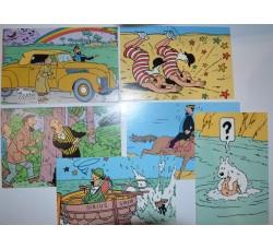 TIN TIN Hergè - 6 cartoline in serie pubblicitarie Q8 ed. Lombard 1988 -