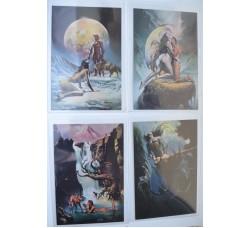 Boris Vallejo - serie 4 rare cartoline 1980, nuove -