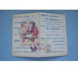 Calendarietto 1899 GALATI Tipogafia Catania - semestrino doppio foglio -