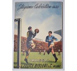 Calcio 1954-1955 Calendarietto tascabile pubblicitario Bisleri & C. advertising