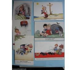 Bambini innamorati - 6 cartoline firmate J. Wills - viaggiate 1937