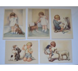 BAMBINI e ANIMALI DOMESTICI - Serie di 5 cartoline