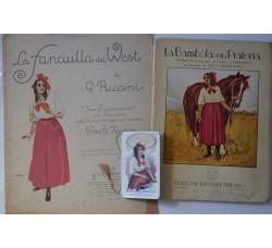 LA FANCIULLA del WEST lotto 3 rari pezzi, primi 900, illustrazioni Metlicovitz