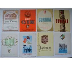 Etichette vino liquore vintage - 8 diverse