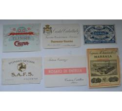 Etichette vino liquore vintage - 6 diverse