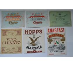 Etichette vino liquore vintage - 6 diverse da collezione