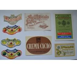 Etichette vino liquore vintage - 8 diverse da collezione