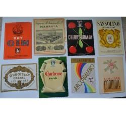 Etichette liquore, vino - 8 diverse vintage da collezione