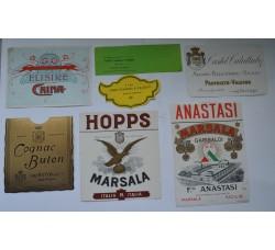 Etichette liquore, vino - 7 diverse vintage da collezione