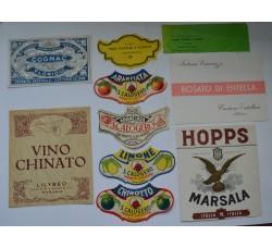 Etichette bevande, liquore, vino - lotto 10 diverse vintage da collezione