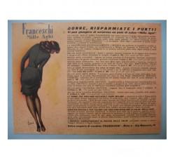 BOCCASILE Calze Mille Aghi - cartoncino pubblicitario 1950