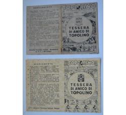 2 Tessere AMICO di TOPOLINO 1940-43 - rarità