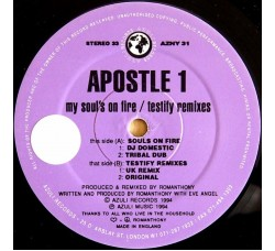 Apostle 1 ‎– My Soul's On Fire / Testify Remixes