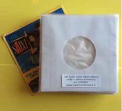 100 Pz - Buste  Carta + Velina dischi 45 giri. Colore Bianco