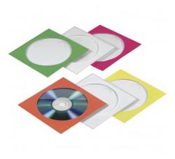 50 Pz - Bustine Colorate per Cd verde, rosso, bianco, giallo, arancione